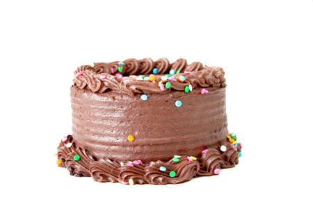 Chocolate cake with sprinkles isolated on white.