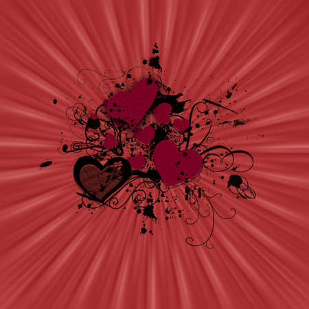 Illustration abstract of a sunburst with hearts, swirls, paint splatters and more. Stock Illustration - 4318067