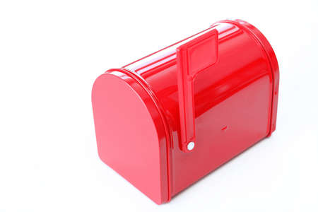 Bright red mail box with flag up and shot on a white background with copy space. Stock Photo - 4318062