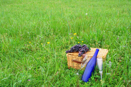 Two wine glasses and a wine bottle with a pic nic basket and grapes in an open field with flowers and fresh spring grass. photo