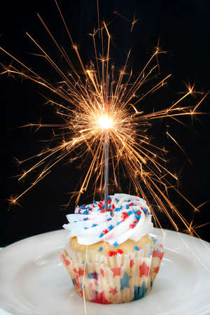 sparkler: Fourth of July cupcake done with red and blue star shaped sprinkles and a sparkler firework as the candle.