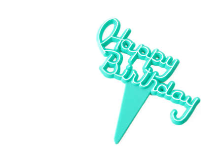 Happy Birthday pick on a white background with room for text.