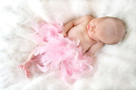 New born baby sleeping on a soft fur background and covered in pink feathers with a soft focus to add elegance. Stock Photo