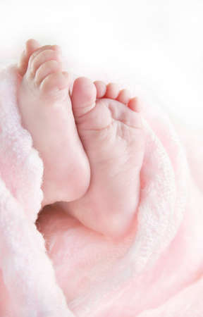 Image of an infants tiny feet and toes surrounded by a pink blanket with a white background.  Used a shallow depth of field. photo