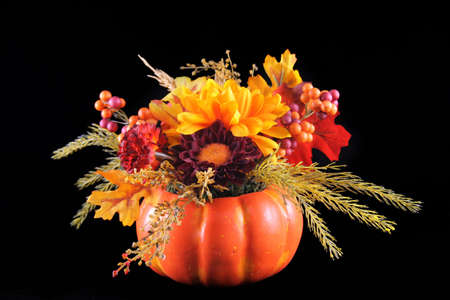Autumn flower arrangement put in a pumpkin on a black background.
