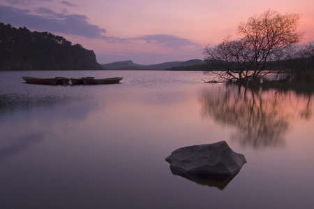 lough: Crag Lough, Hadrians Wall at Sunset