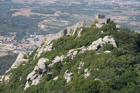 pena: The Castle of the Moors, seen from the Pena National Palace in Sintra