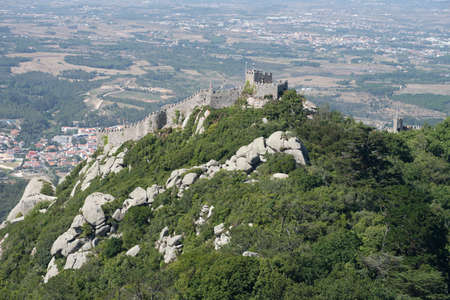 The Castle of the Moors, built in the 8th century, as seen from the Pena National Palace. Sintra, Portugal.