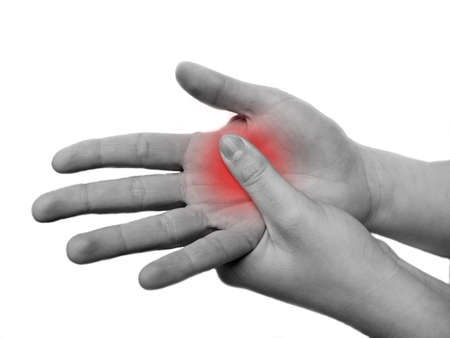 enhanced health: womans hand in pain