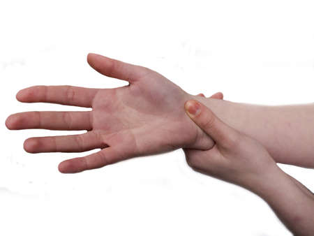 enhanced health: womans hand suffering pain Stock Photo