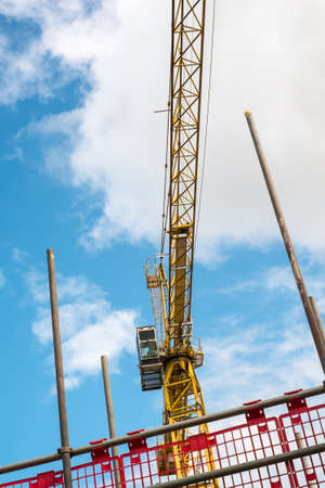building site: Construction tower crane on a building site Stock Photo