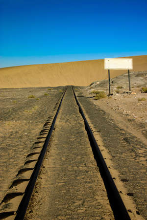 sleepers: Sand dune that has engulfed a railway line in Namibia