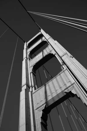 Black and White close up of one of the towers of the Golden Gate bridge photo