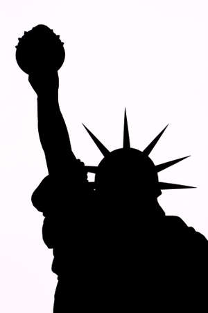 Black silhouette on a white background of the Statue of Liberty photo
