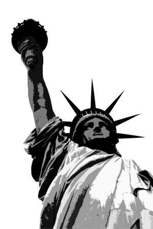 Black and white representation of the Statue of Liberty on a white background photo
