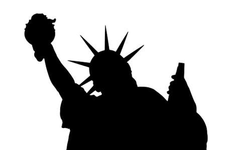 justice statue: Black silhouette on a white background of the Statue of Liberty