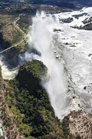zimbabwe: Aerial view of Victoria Falls taken from over Zambia looking towards Zimbabwe Stock Photo