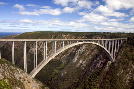 canyon: Bloukrans River Bridge on the Garden Route south africa.  A famous place to bungie jump Stock Photo