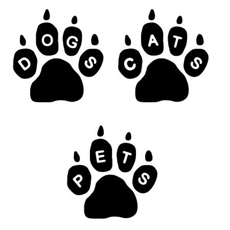3 paws with the text DOGS, CATS and PETS on white background Stock Photo