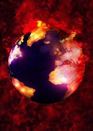 Illustration of the earth burning up Stock Photo