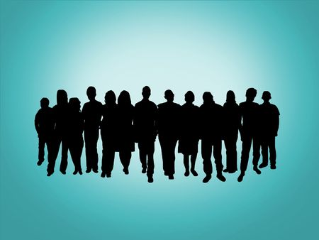 youth group: Illustration of a crowd of people Stock Photo