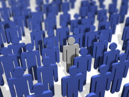 mucha gente: Ilustraci�n de una muchedumbre de todas las personas de color azul con excepci�n de uno.  Foto de archivo