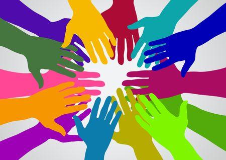 unificar: Ilustraci�n de muchos colores manos