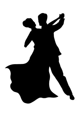 black people dancing: Illustrated Silhouette of a dancing couple