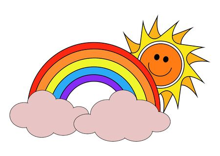 Illustration of The Sun, A rainbow and clouds Stock Illustration - 1884590