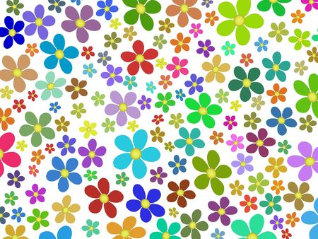 illustrated: Multi colored flowers on a white background Stock Photo