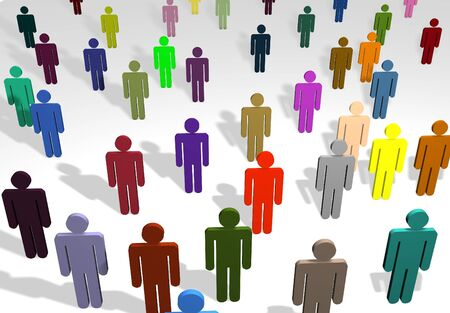 among: Illustration of a crowd of people of different colors