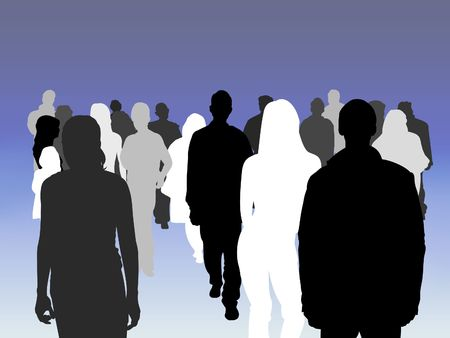 Illustrated crowd of people of various shades Stock Photo - 2166990