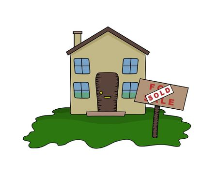 illustration for advertising: Illustrated House with sold sign