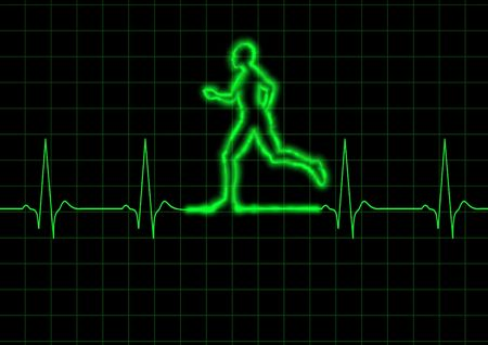 Illustration of a graph heart monitor and a person running