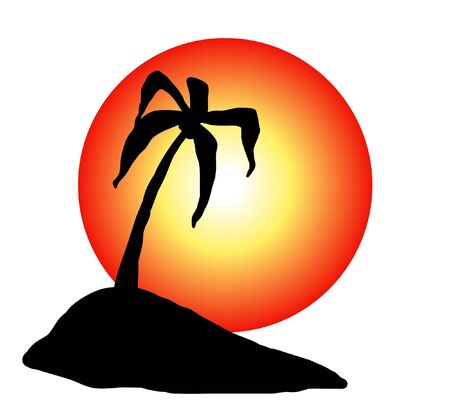 Illustrated Island With Sun and Palm tree photo