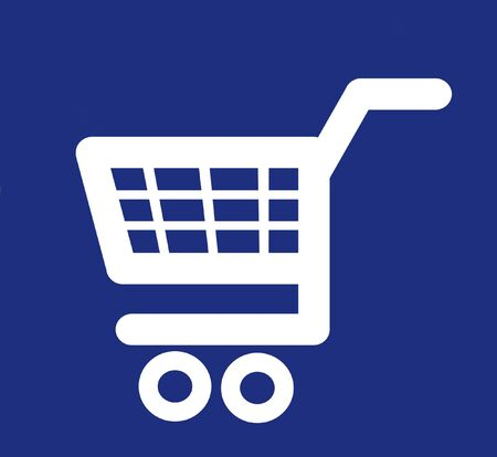 Illustrated white shopping cart icon on a blue background photo