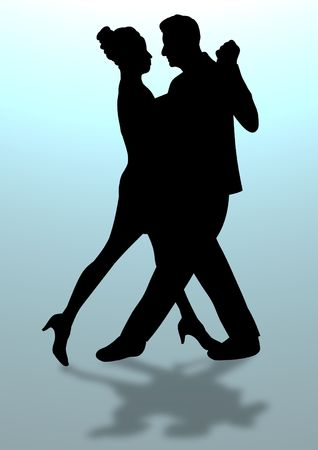 Illustration of a man and woman dancing with drop shadow illustration