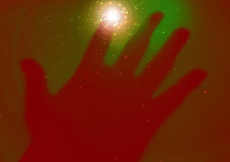 Illustration of a hand touching the screen with sparkles coming from the contact point illustration