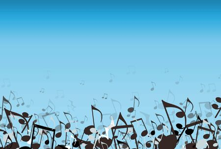 Musical notes on a blue background