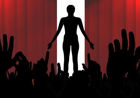 applause: Illustration of a person standing on a stage with a crowd of people