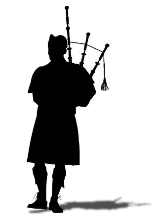 Illustrated silhouette of a person playing the bagpipes