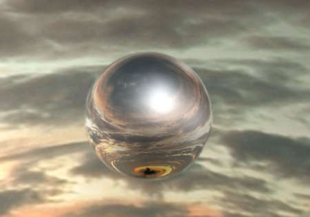 Mirrored sphere on sky background Stock Photo - 2166988