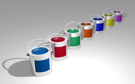 paintcan: Illustration of different colored cans of paint Stock Photo