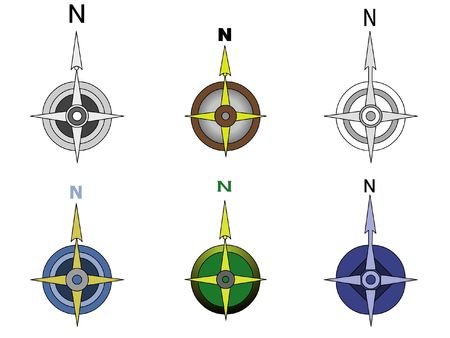 compasses: illustration of 6 compasses Stock Photo