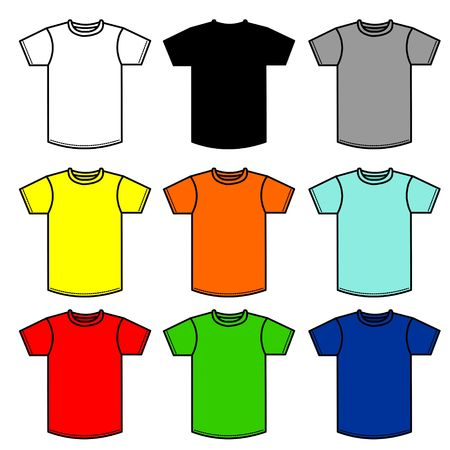 tshirts: 90 shirtsNine T-Shirts of different colors Stock Photo