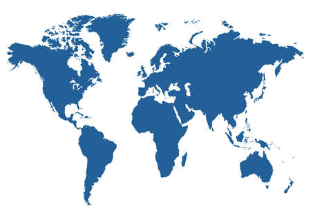Illustrated blue map of the world on a white background