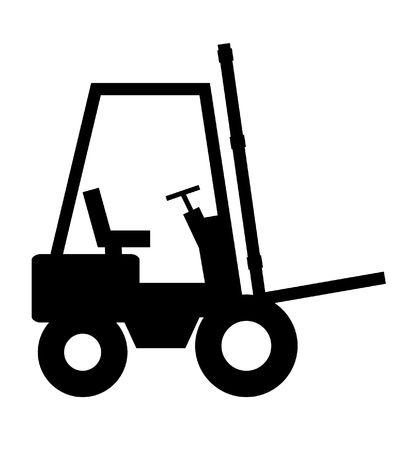fork lifts trucks: Illustrated black and white forklift Stock Photo