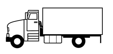 stock clip art: Black and white illustrated truck Stock Photo
