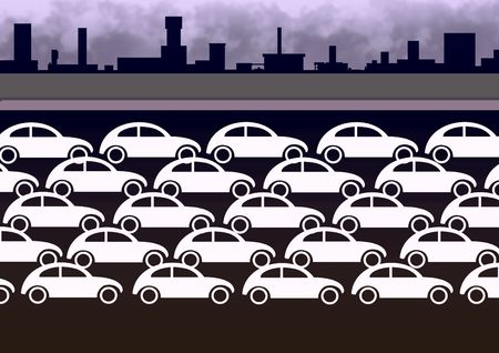 Illustration of lots of white cars on a urban background