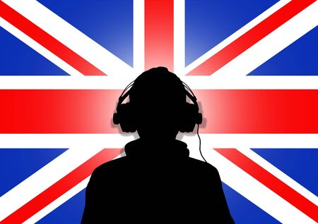 Illustration of a person wearing headphones in-front of the United Kingdom flag Stock Illustration - 2167052